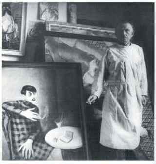Fotografía de Otto Dix junto al cuadro original.